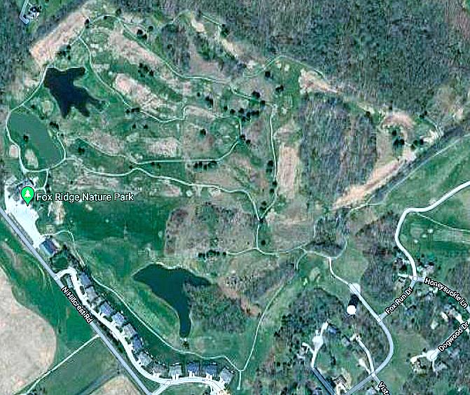 Satellite imagery map of Fox Ridge boundaries